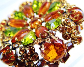 Schreiner NY Unsighned Rhinestone Pendant Brooch Pin Green and Amber Orange Brown Bronze Cats Eye Stones Lime Brown Natural Harvest