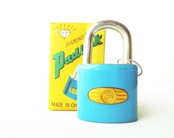 Vintage retro light blue padlock miniature lock and key with original box (UNUSED)