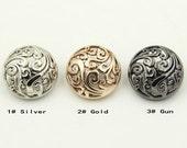 6 pcs 0.47~0.98 inch Retro Gold/Silver/Gun Hollow Auspicious Clouds Metal Shank Buttons for Coats Suits
