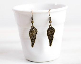 Wings Antiqued  Bronze Earrings, Boho earrings, Bohemian jewelry, Hippie jewelry, Steampunk, Wing earrings,  Boho Style, Hippie Earrings