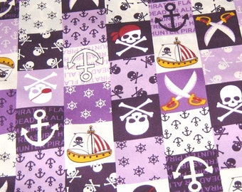 Purple Pirates  Cotton Fabric, Pirate Fabric, Purple Fabric