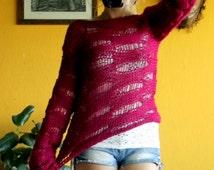 Dark Red Hand Knit Jumper Cropped Top Boho Shrug Indie Clothing Vegan
