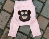 SALE Upcycled Wool Diaper Cover/Longies/Wool Pants - Pale Pink with a Monkey Applique - Size Medium