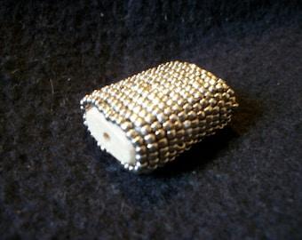 Vintage Large Silver Beaded Bead