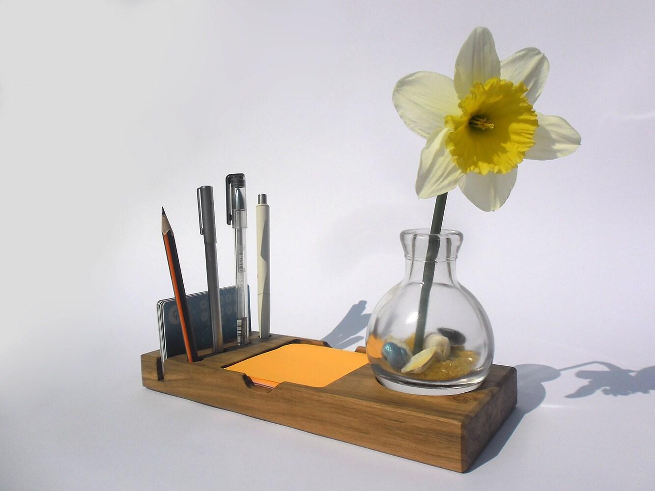 Desk organizer with glass vase wooden pen by - Glass desk organizer ...