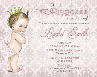 Girl Baby Shower Invitation and FREE Thank You Card Printable - Baby Girl Shower Invite - Royal Little Princess - Pink Grey Damask -