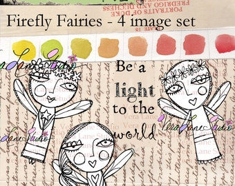 Firefly fairies; whimsical digi four image set  available for instant download