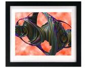 11 x 8.5 Psychedelic Digital Art Print - FREE shipping
