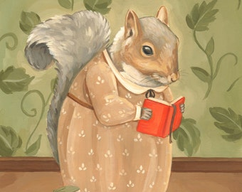 Books Were Once Trees Print 8x10 - literature, illustration, reading, art, squirrel, library, novel, painting, surreal, children's art, cute