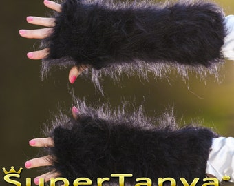 Made to order fuzzy hand knitted fingerless mohair gloves in black by SuperTanya