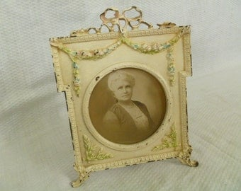 Antique Picture Frame, Painted Cast Iron Picture Frame, Ornate Frame