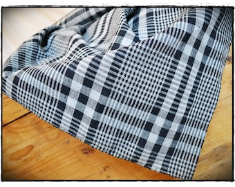 linen fabric french kelsch antique blue/white, pattern woven, check gingham fabric