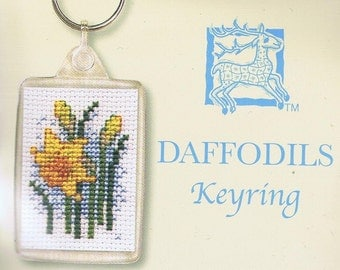 Daffodils Keyring Cross Stitch Kit By Textile Heritage Floral