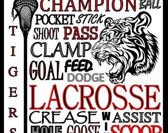 Lacrosse Print - custom lacrosse poster - lacrosse team gift - lacrosse poster - school lacrosse sign - high school, college larcrosse