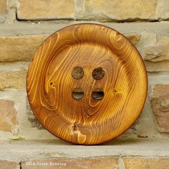 Large 8.5 Inch Wooden Button - Huge Wood Button- Wall Decor - Big Buttons