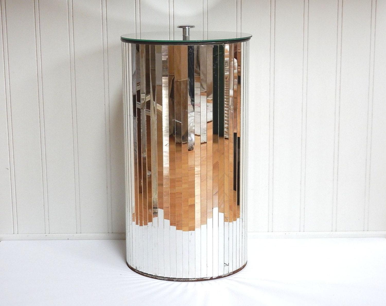 Vintage Mirrored Hamper Wastebasket Mirror Trash Can
