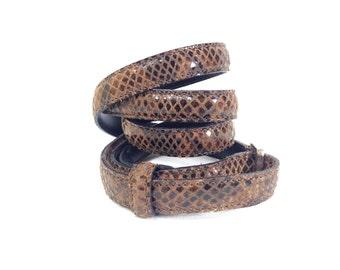 Armani Belt Small - Snake Skin Waist Belt S - Womens Armani Belt - Small Leather Belt - Vintage Armani