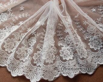 "8""/20cm White Black Lace Trim, Bridal Wedding Floral Lace Cotton Embroidery Scalloped Edges- one yard Lace"
