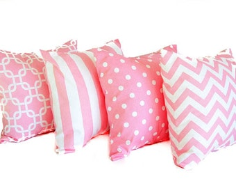 """Four throw pillow covers 18"""" x 18"""" Four cushion covers baby pink throw pillow cover bubblegum pink pillows"""