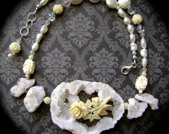 Stars Above the Moon Rose, carved bone rose, druzy drusy, bridal jewelry, white pearls, vintage crystals, sterling, wedding, AnvilArtifacts