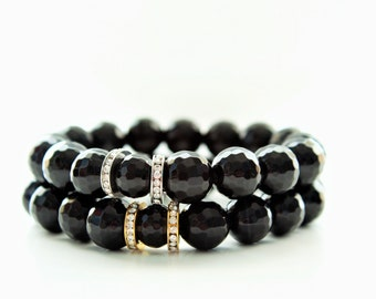 Faceted Onyx Gemstone Beaded Pave Rhinestone Bracelet