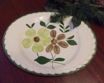 "Blue Ridge Green Briar Pattern Platter 13 3/4"",  Blue Ridge Pottery Company    (T)"