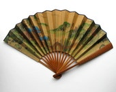 Mid Century gold Asian Hand Fan, Home Decor, Retro Collectible, original box, gift idea