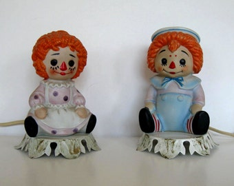 SALE, Mid Century set of Raggedy Ann and Andy Lamp Nightlights, Nursery Decor, Home and Living, gift idea