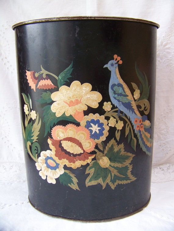 Vintage Black Tole Hand Painted Waste Basket Shabby Chic