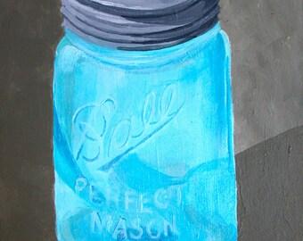 Perfect Mason Ball Jar Original Still Life Painting, Small Format Art, Ball Jar Painting, Ball Jar Still Life