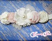 Blush, Ivory Flower Girl Hair Piece, Light Pink Fabric Flower Hair Clip, Flowergirl Headband, Baby Hair Accessory, Hairbow, Bridesmaid Hair