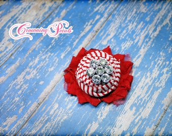 Red White Shabby Flower Clip, Candy Cane Headband, Shabby Chiffon Hairbow, Baby, Infant, Christmas Hair Accessory, Ready to Ship Hair Piece