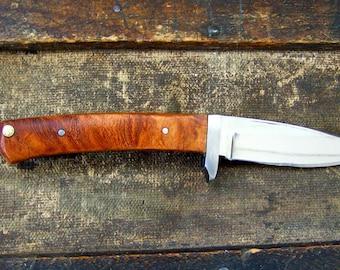 Custom Bird and Trout Knife, EDC Knife with Handmade Leather Sheath #1519