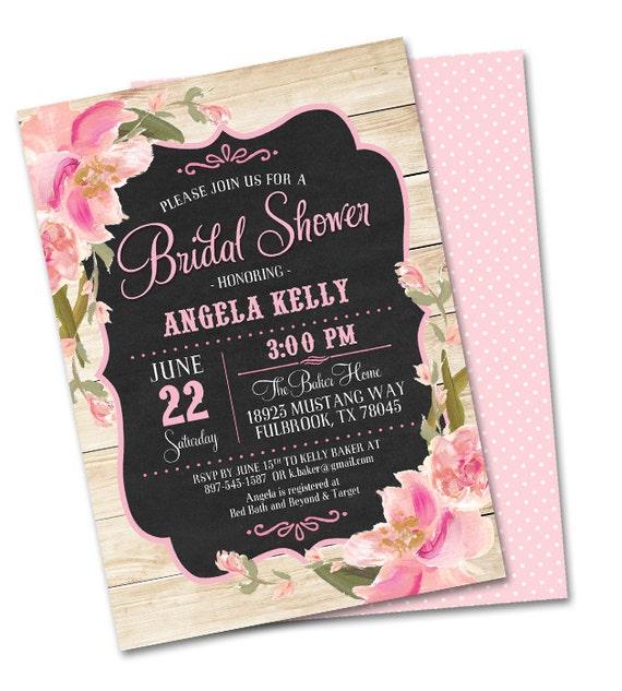 Rustic bridal shower invitation chalkboard style and blush pink il570xn filmwisefo