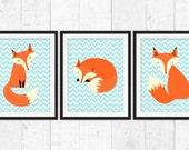 Woodland nursery decor, foxes art prints for baby, little fox wall decor, retro nursery art, teal chevrons prints, baby art, home decor