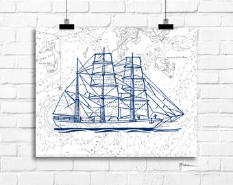 Vintage ship art print, nautical vintage decor, nautical home decor, ship art print, housewarming gift,