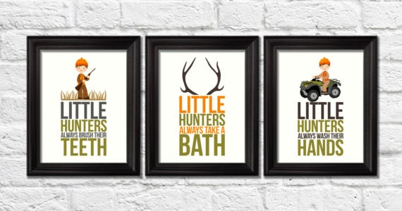 Little hunters bathroom rules deer antlers art print deer for Hunting bathroom accessories
