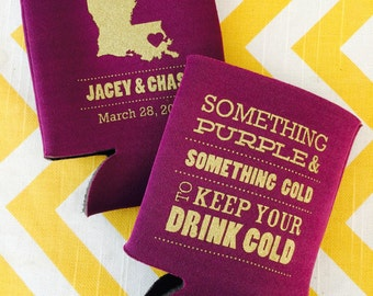 LSU Tigers Football can coolers, Tailgating engagement can coolers, Something Purple Gold wedding favor, Louisiana state outline beer holder