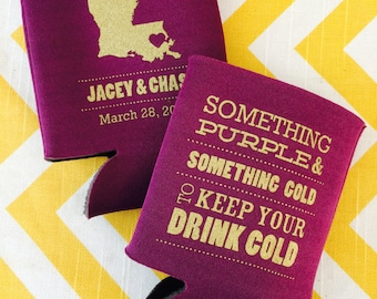 LSU Tigers Football wedding favors, Tailgating engagement can coolers, Something Purple Gold wedding favors, Louisiana state outline-250 qty