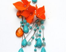 Pair Gorgeous Ear Cuffs with turquoise beads and orange flowers. One of a kind.