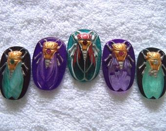 Czech  Glass  Buttons  5 pcs   Gorgeous XL scarab CICADA     40 mm       IVA 073