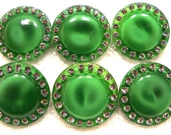 Czech glass buttons  6 pcs  moonglow with rhinestones   22mm    IVA    026