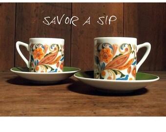 Vintage Espresso Demitasse Cup and Saucer Set - Psychedelic - Arnart - Orange - Green - Paisley
