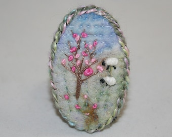 Embroidered Felted Blossom Brooch - Hillside Sheep