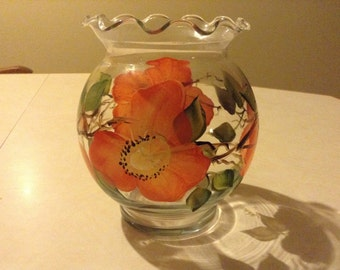 Candle holder, glass,hand painted, orange flowers, green leaves