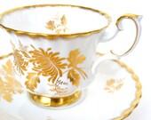 Royal Albert Fine Bone China Tea Cup and Saucer, Golden Glory, Gold Gilt, England