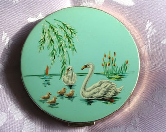 FREE SHIPPING Vintage Gold Tone Swan and Cygnet Design Powder Compact 1960s Compact Mirror Bridal/ Bridesmaid Gift