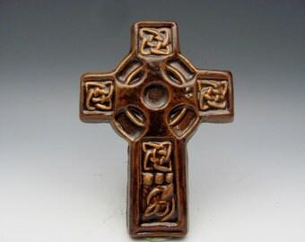 Celtic Cross with Knots Gold Highlights Irish Gaelic Stoneware Christian Baptism First Communion Confirmation Graduation Teacher Minister