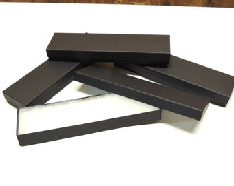 "10 Matte Black  8""x2""x1"" Necklace Boxes, Cotton Filled  Presentation Jewelry Boxes, Bracelet Boxes, Necklace Boxes, Kraft Paper Jewelry Box"