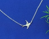 Sterling silver Flying Bird on sterling silver chain - Solitaire Bird Necklace . Simple Jewelry. Everyday wearing, lost loved one Necklace